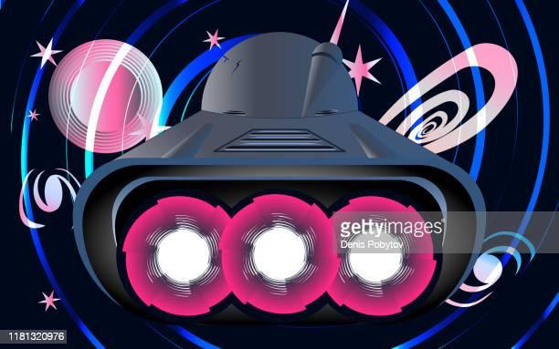 ilustraciones, imágenes clip art, dibujos animados e iconos de stock de ilustración de una nave espacial de estilo retro-futurista. - galaxiaespiral