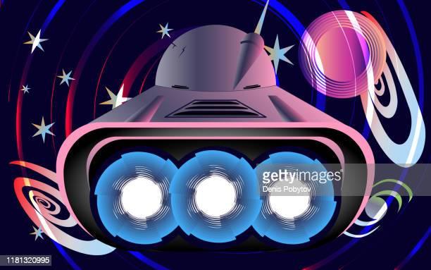 ilustraciones, imágenes clip art, dibujos animados e iconos de stock de ilustración de una nave espacial de estilo retro-futurista. - galaxia espiral