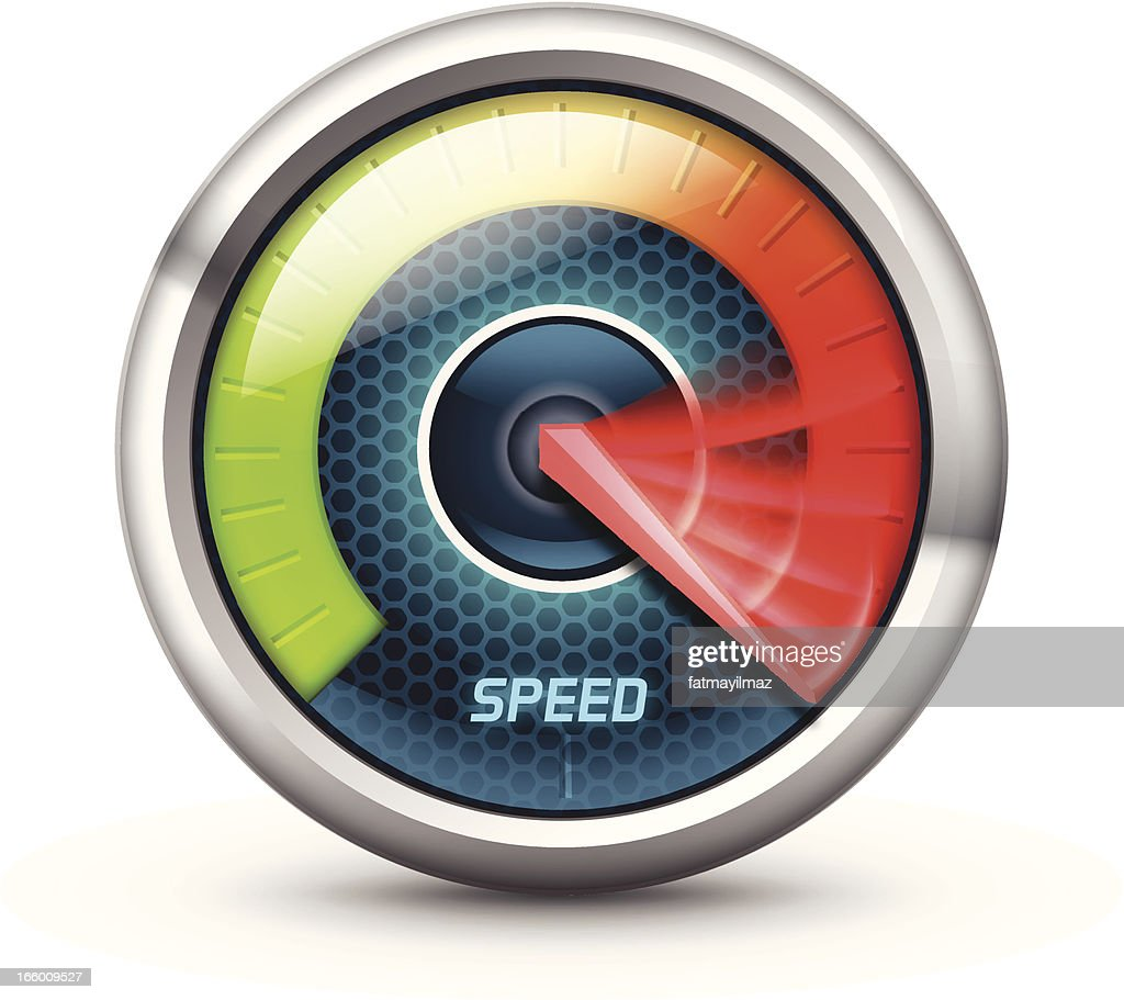 Illustration of a speedometer with colorful gauge