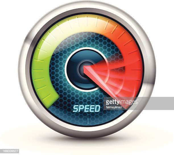 illustration of a speedometer with colorful gauge - speedometer stock illustrations