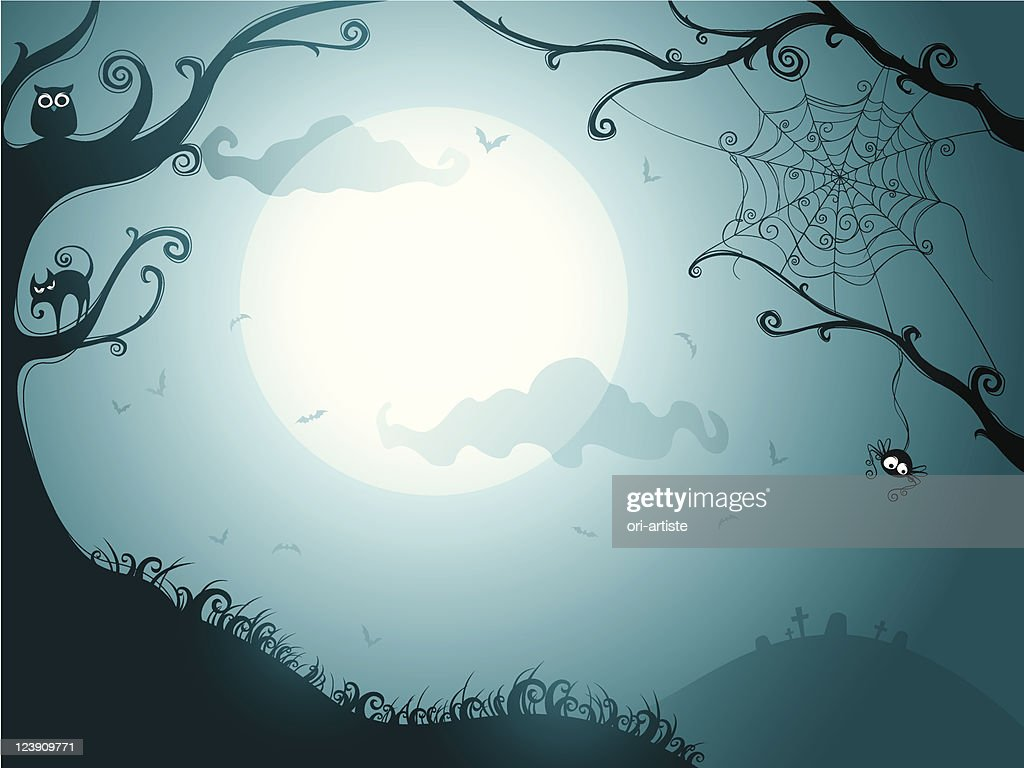 Illustration of a spooky Halloween night