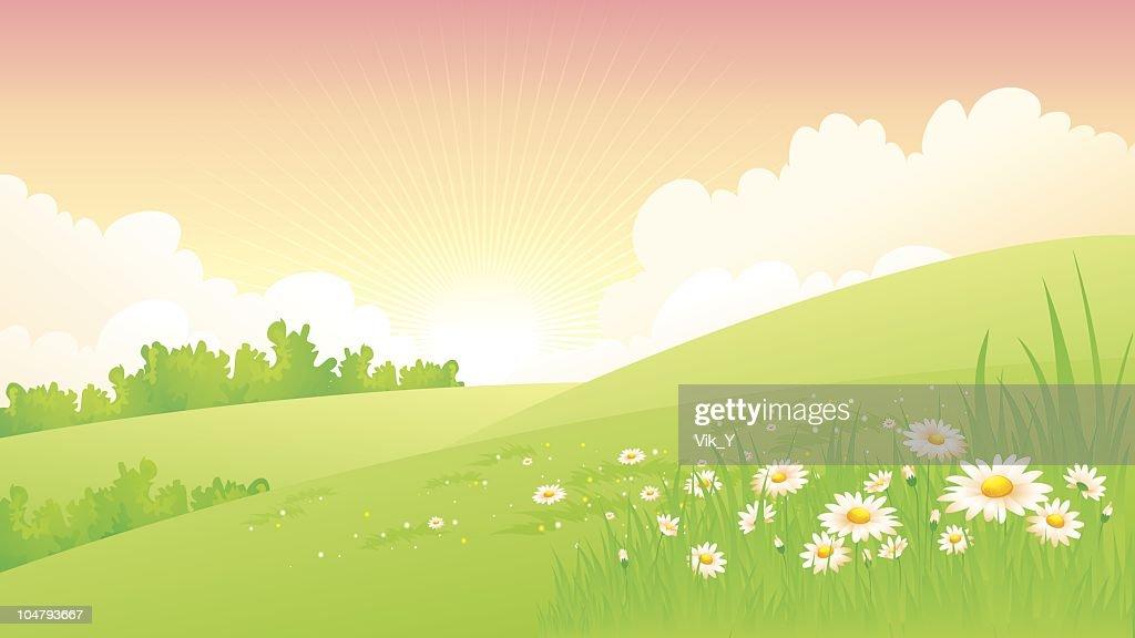 Illustration of a spring landscapes : Vector Art