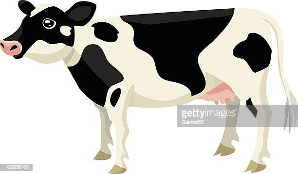 illustration of a standing black and white cow on white back - milking stock illustrations, clip art, cartoons, & icons