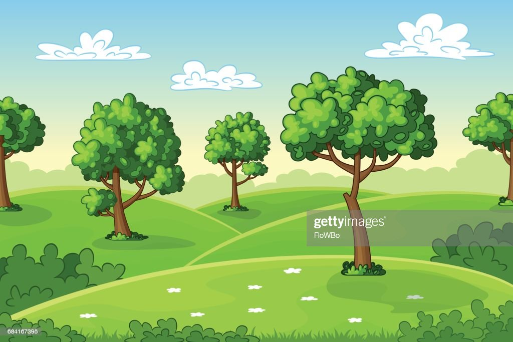 Illustration of a summer landscape with trees