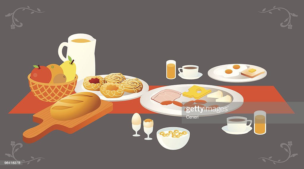 Illustration of a table set for breakfast : stock illustration