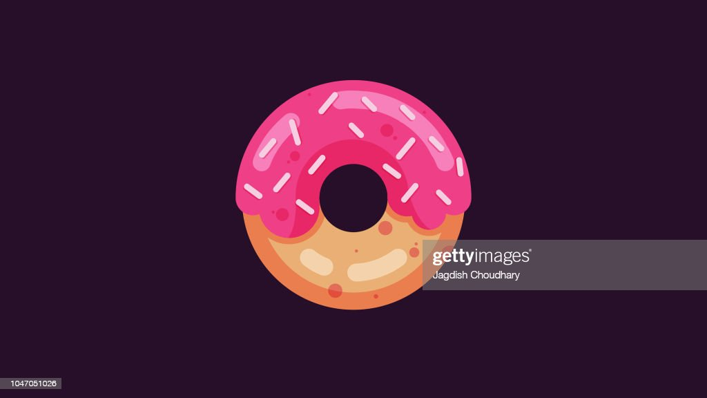 Illustration of a tasty donut with small candy on top. Vector of a donut. EPS10 compatible