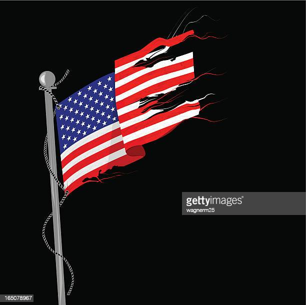 Illustration of a tattered flag against a black background