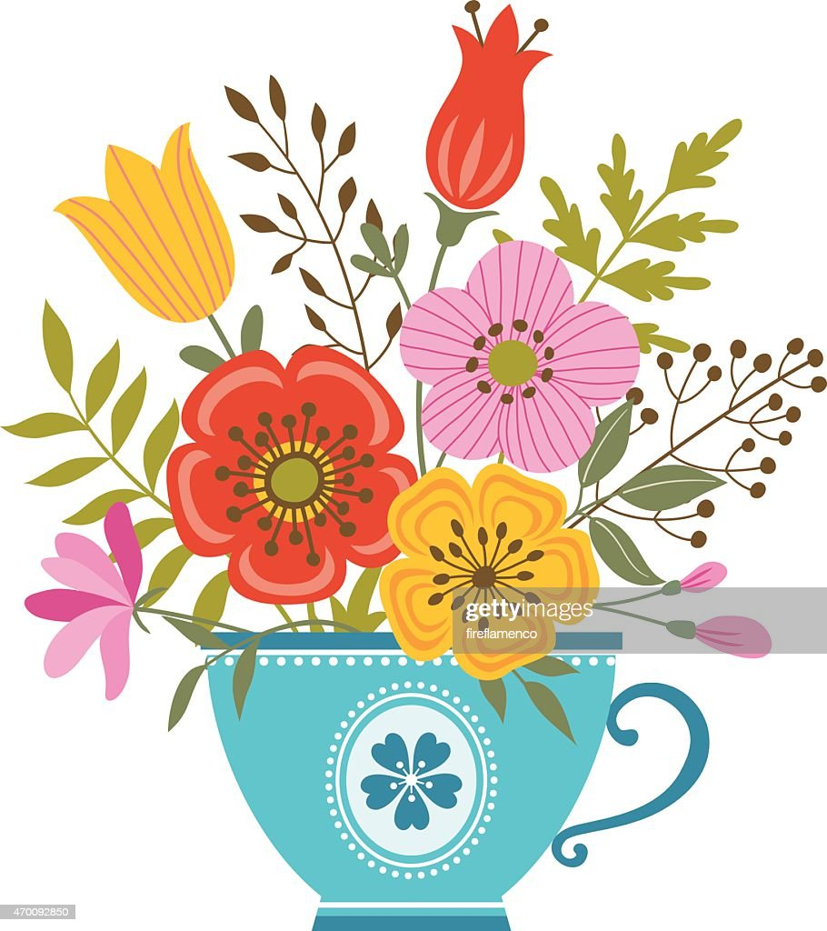 Illustration of a tea cup filled with colorful flowers