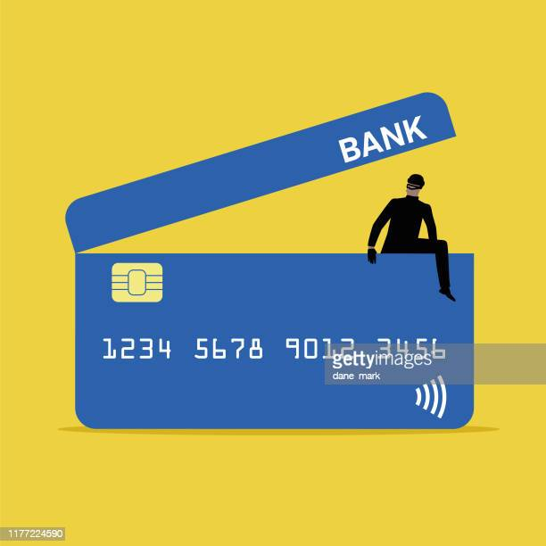 illustration of a thief climbing out of a credit card image - corporate theft stock illustrations