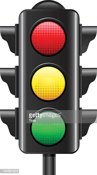 illustration of a traffic light on white background - stoplight stock illustrations