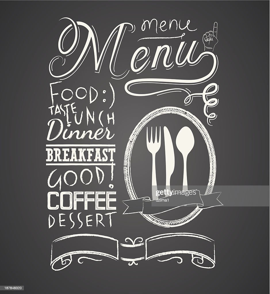 Illustration of a vintage graphic element for menu on blackboard