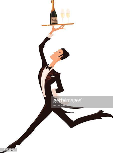 Illustration of a waiter with a tray of wine above his head