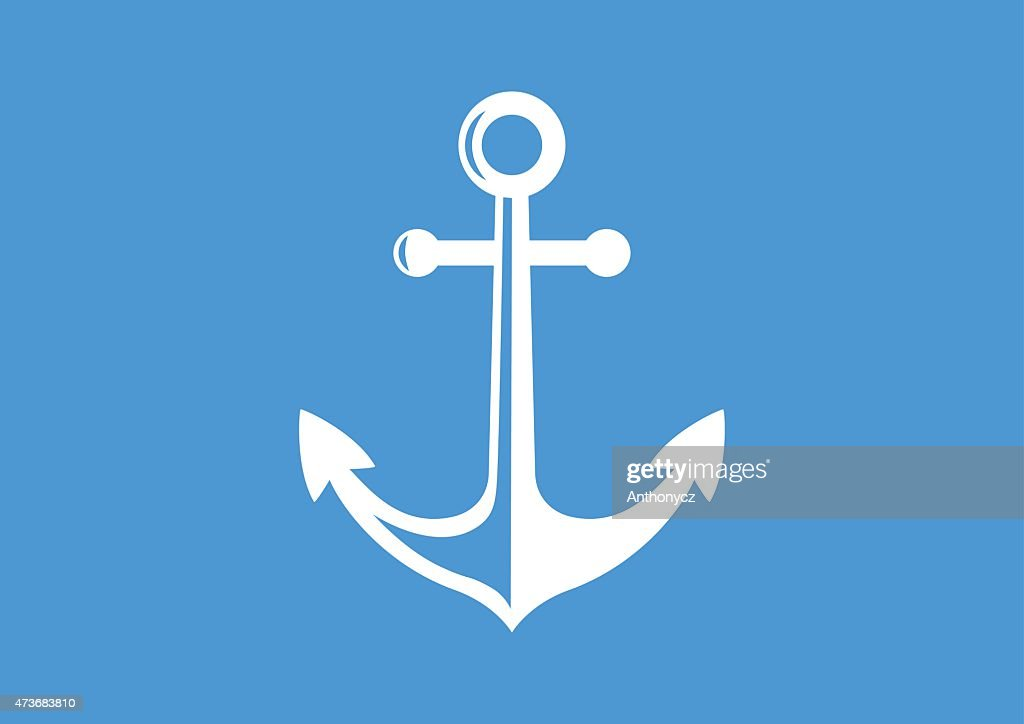 Illustration of a white anchor on a blue background