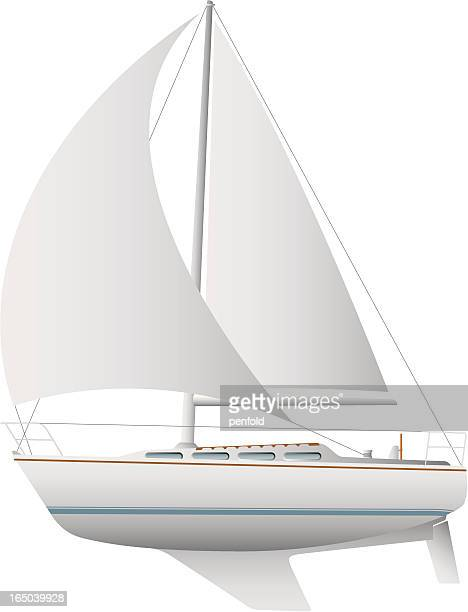Illustration of a white sailboat against a white background