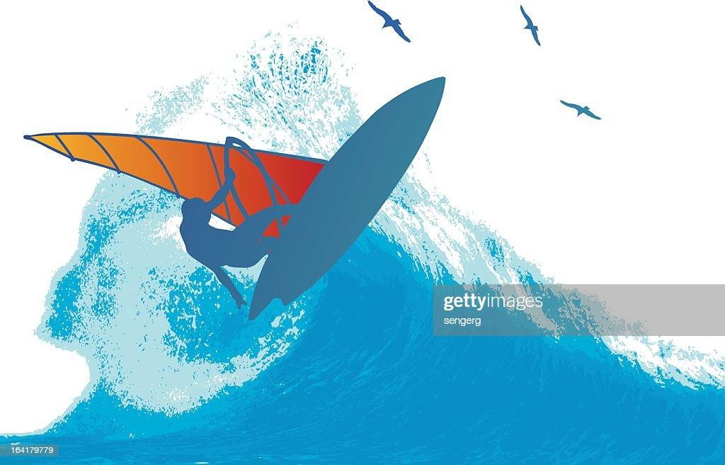 Illustration of a wind surfer on a wave