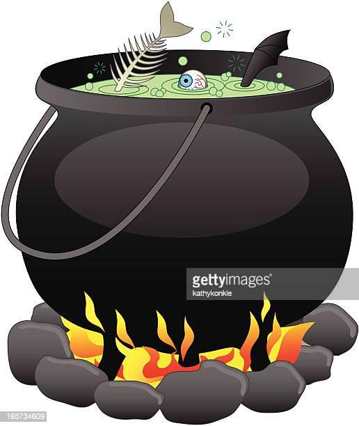 illustration of a witch's cauldron - cauldron stock illustrations, clip art, cartoons, & icons