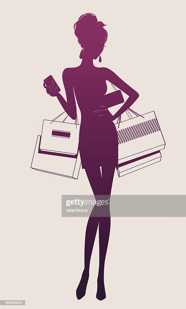Illustration of a woman holding shopping bags