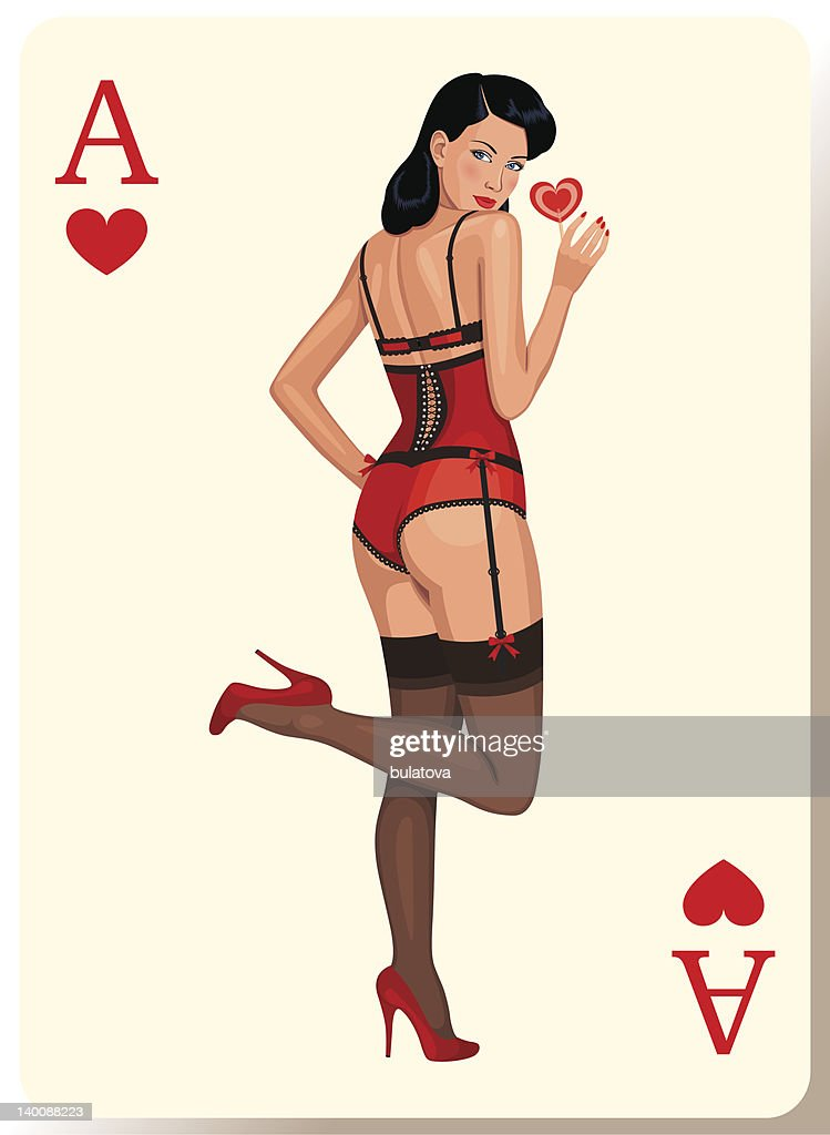 Illustration of a woman in lingerie on the ace of hearts