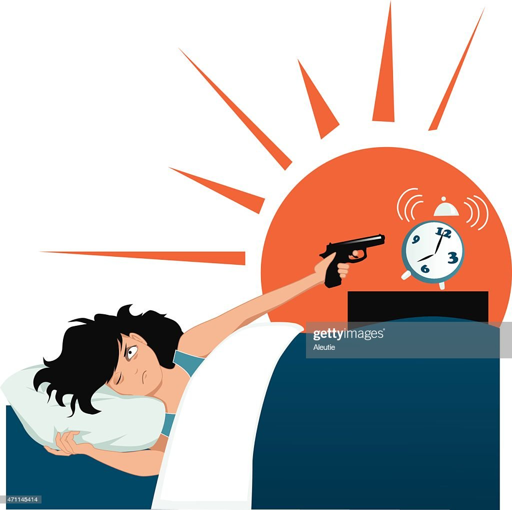 Illustration of a woman pointing a gun at her alarm clock