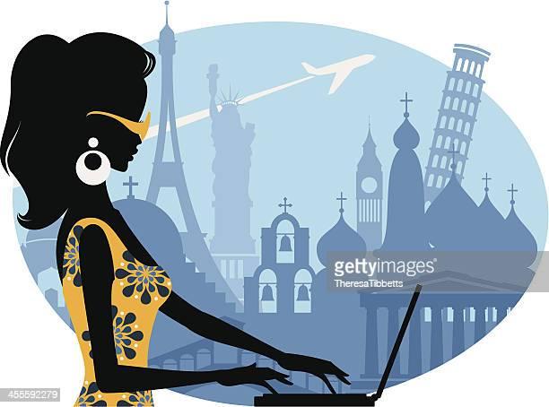 ilustrações, clipart, desenhos animados e ícones de blogueira de viagem - partenão acrópole