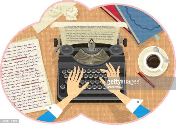 Illustration of a woman's hands typing