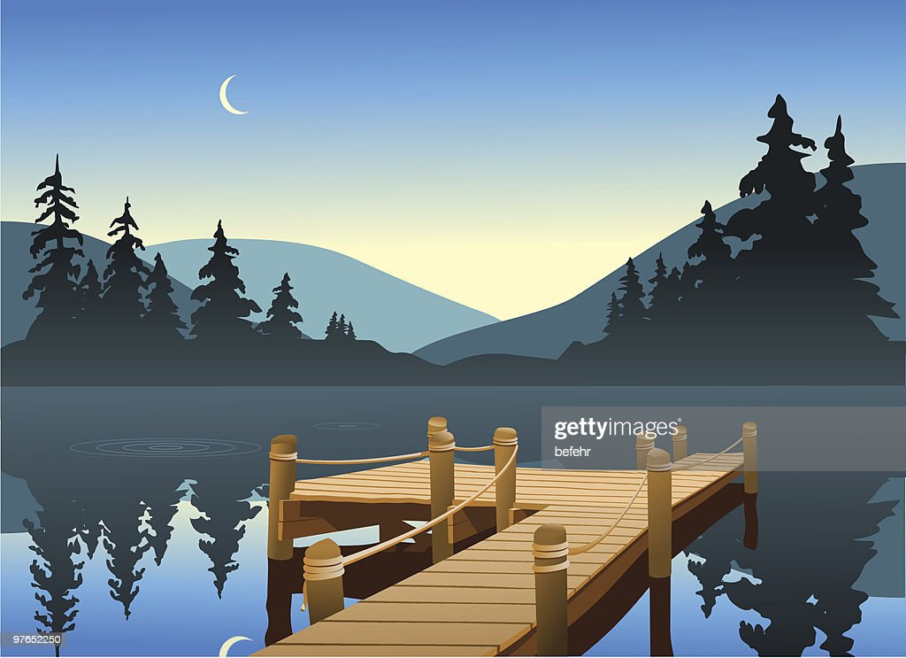 Illustration of a wooden fishing dock on a big lake