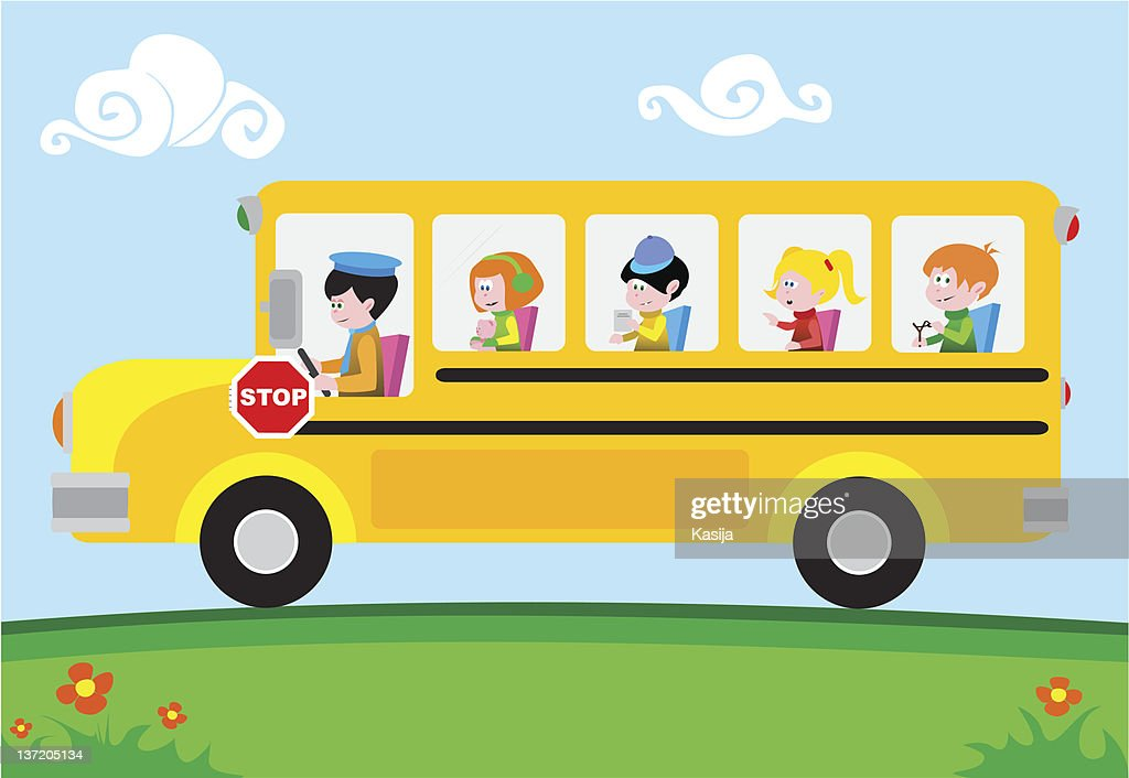 Illustration of a yellow school bus with students on it