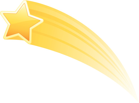 Illustration of a yellow shooting star on white background - gettyimageskorea