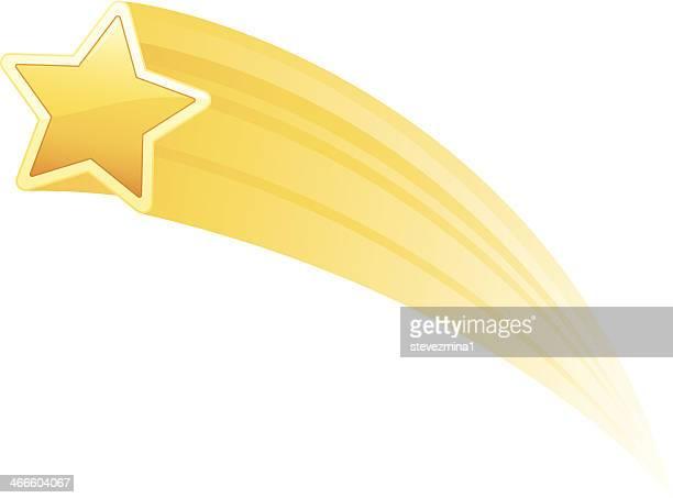 ilustraciones, imágenes clip art, dibujos animados e iconos de stock de ilustración de un tiro star amarilla sobre fondo blanco - estrella fugaz