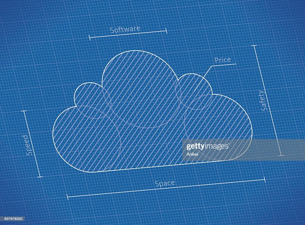 Illustration of abstract blueprint with cloud computing technology symbol