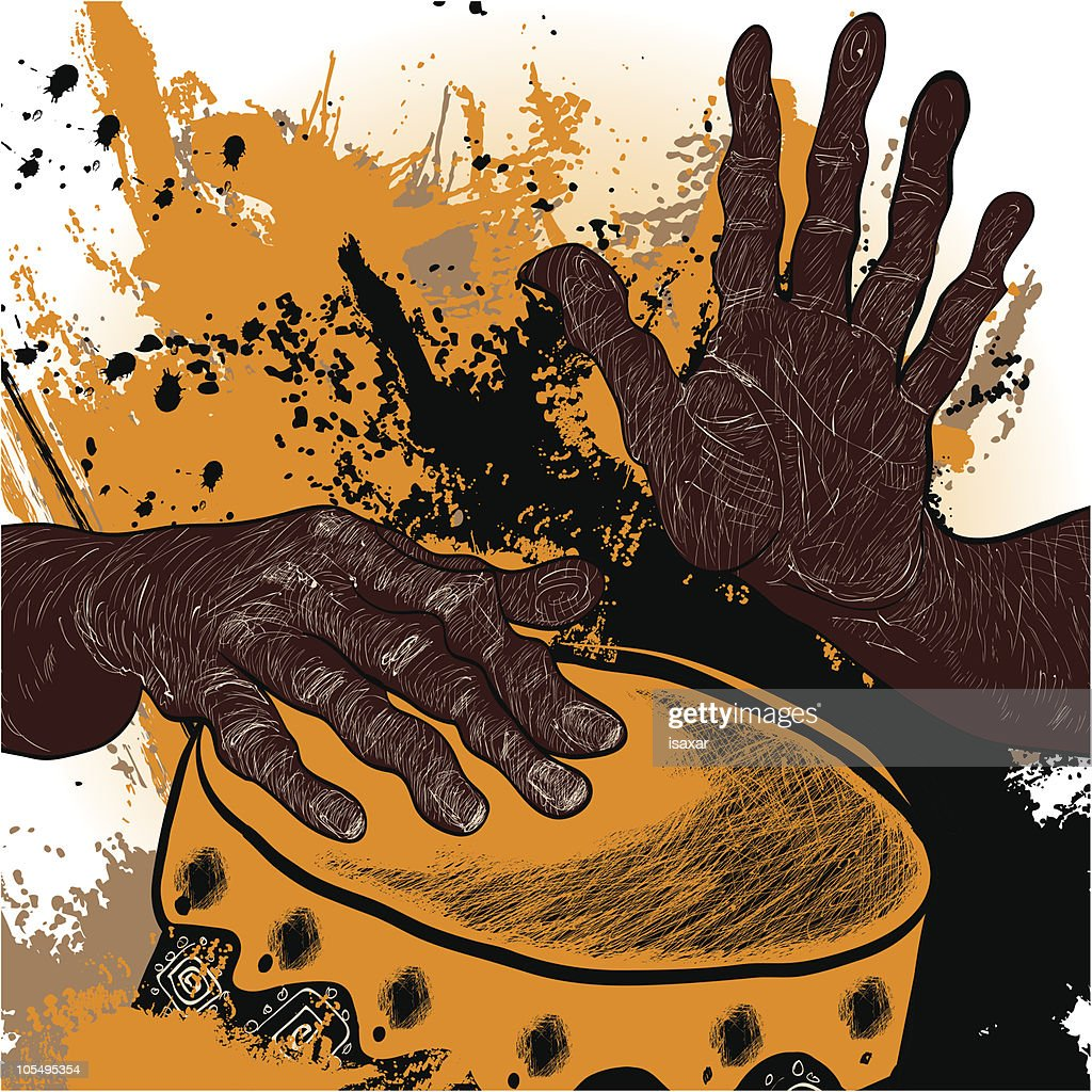 Illustration of African drummer's hands playing yellow drum