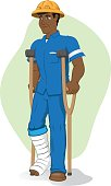 Illustration of an afrodescendant operative person, of crutches with injured leg, bandaged or plastered. Ideal for medical and institutional materials