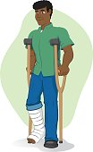 Illustration of an afrodescendant person, of crutches with injured leg, bandaged or plastered. Ideal for medical and institutional materials
