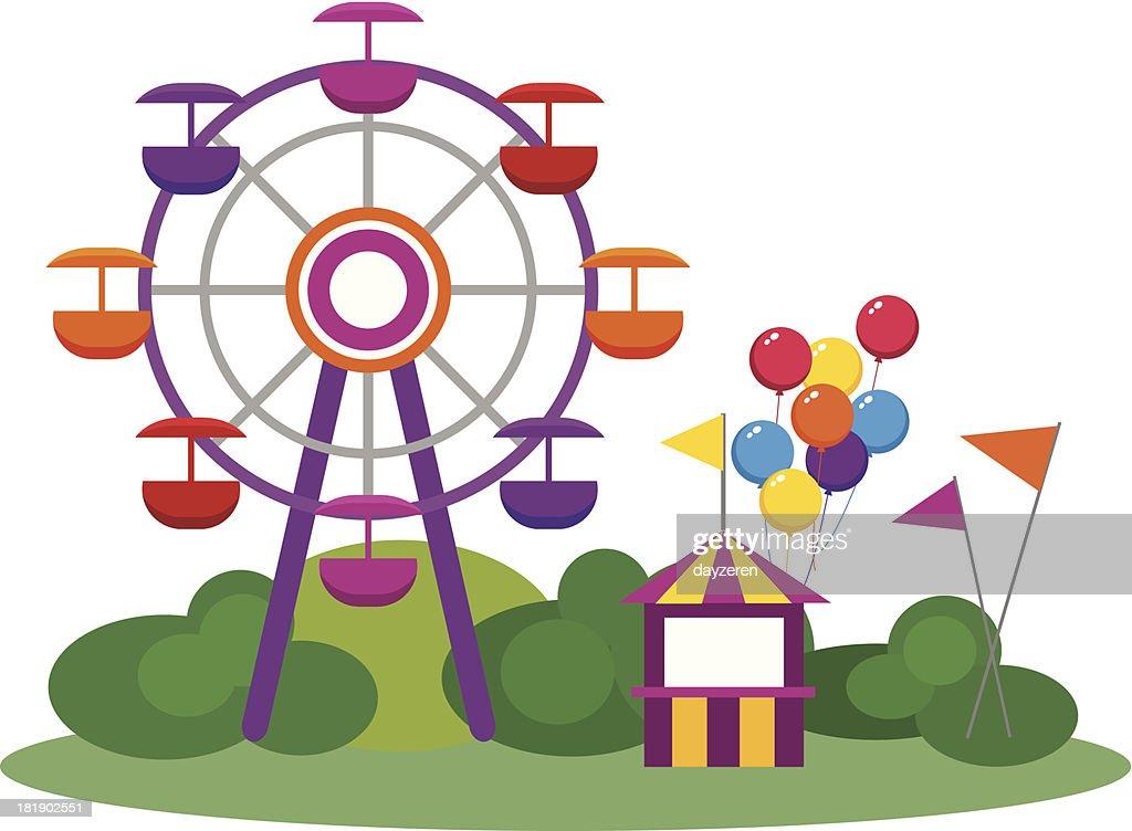 Illustration of an amusement park and Ferris wheel