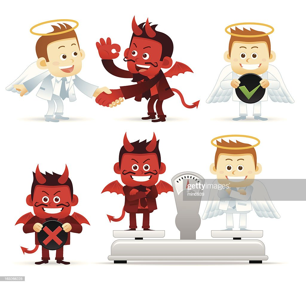 Illustration of an angel and devil with options weighed out