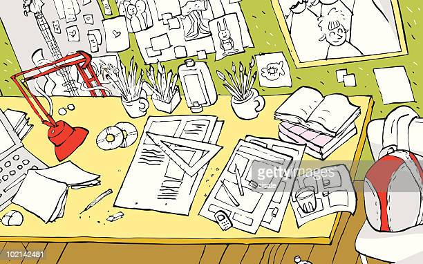 illustration of an artist's or student's room, workplace,office