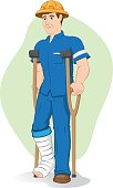 Illustration of an caucasian operative person, of crutches with injured leg, bandaged or plastered. Ideal for medical and institutional materials