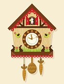 Illustration of an Easter themed cuckoo clock with bunnies