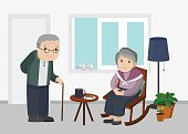 Illustration of an elderly man and woman in living room.