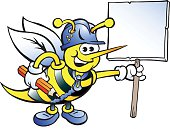 illustration of an Happy Working Bee Holding a Sign
