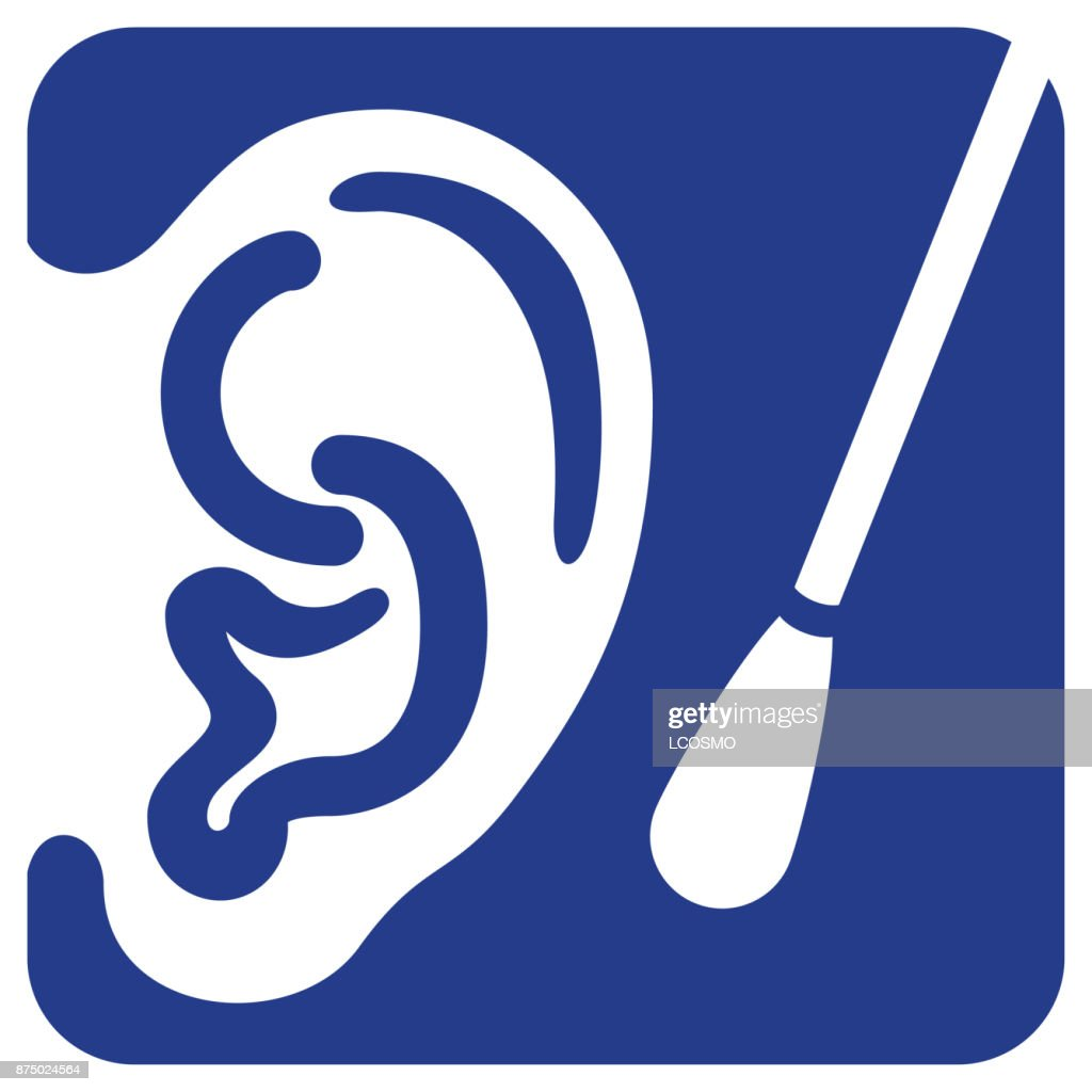 Illustration of an icon representing ear being cleaned for a swab. Ideal for educational and health materials