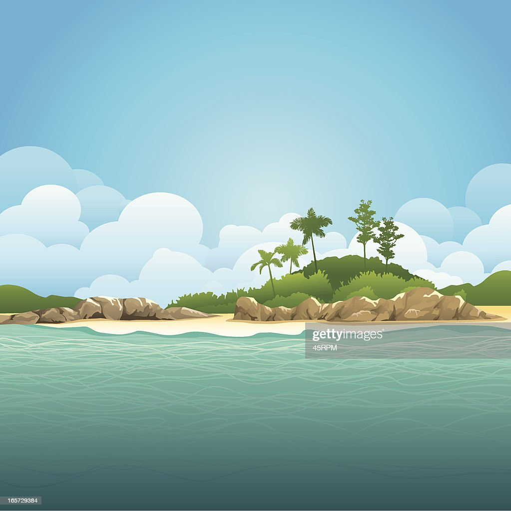Illustration of an island and ocean with green waters