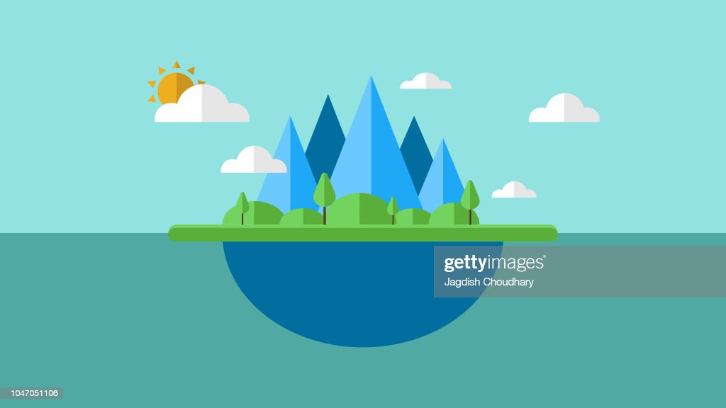 Illustration of an island with cloud and sun. Vector of an island. EPS10 compatible