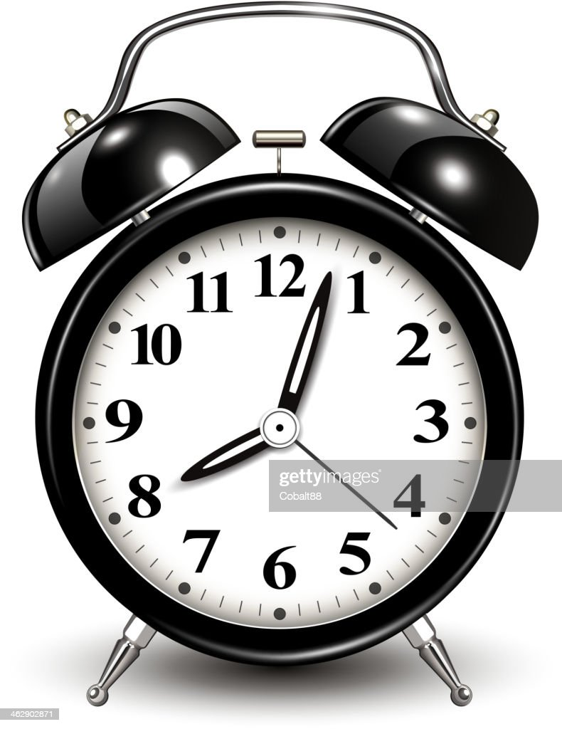 Illustration of an old-fashioned black and white alarm clock