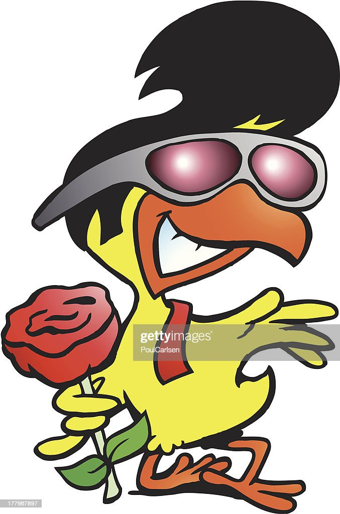 Illustration of an smart chicken holding a rose