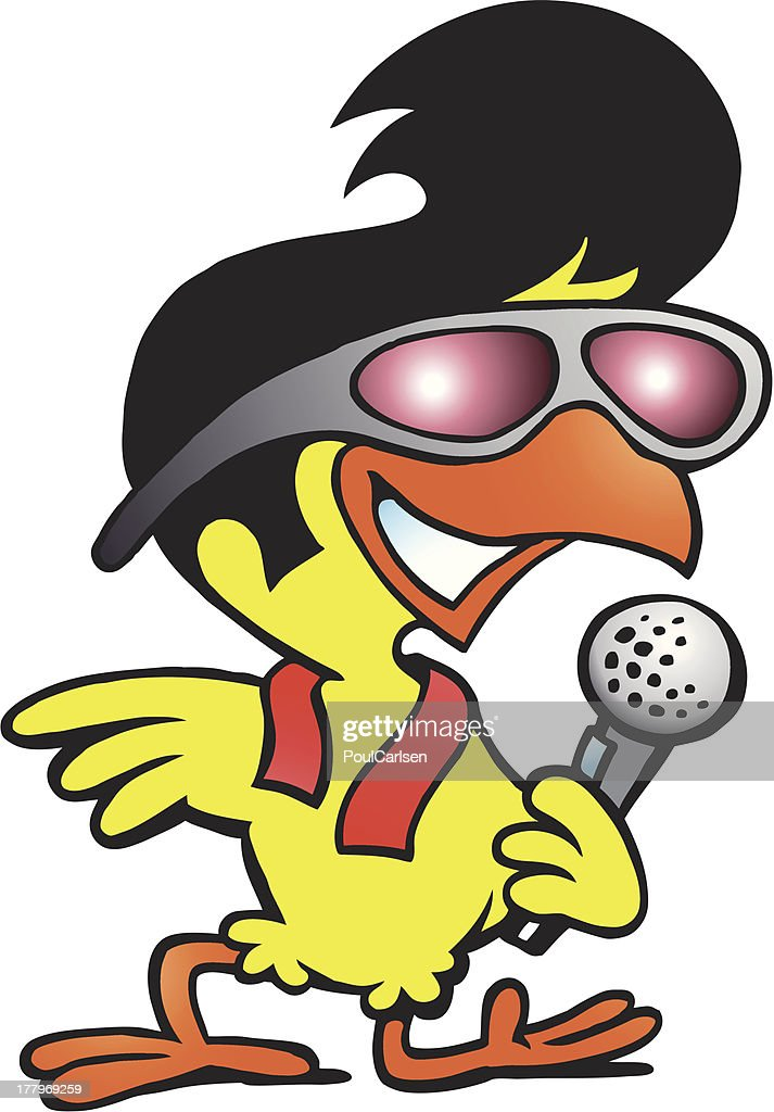 Illustration of an smart chicken singing a song