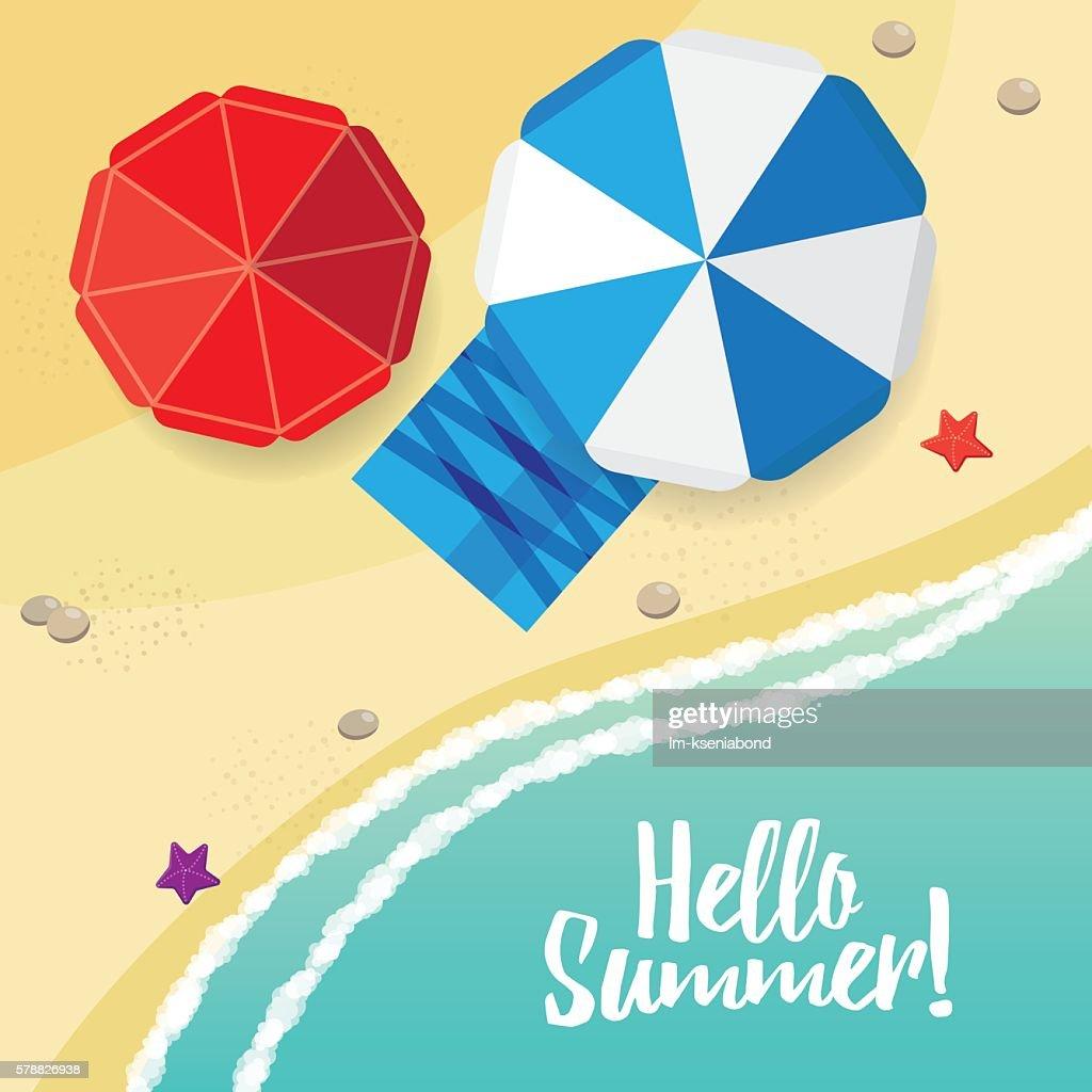 Illustration of beach, sea, umbrella, starfish