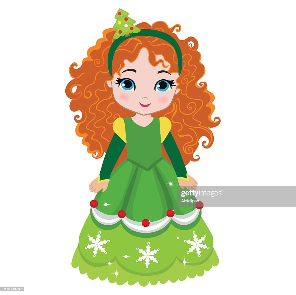Illustration of beautiful winter christmas princess.