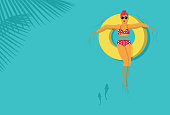 Illustration of beautiful woman relaxing on a rubber ring in the sea, vector