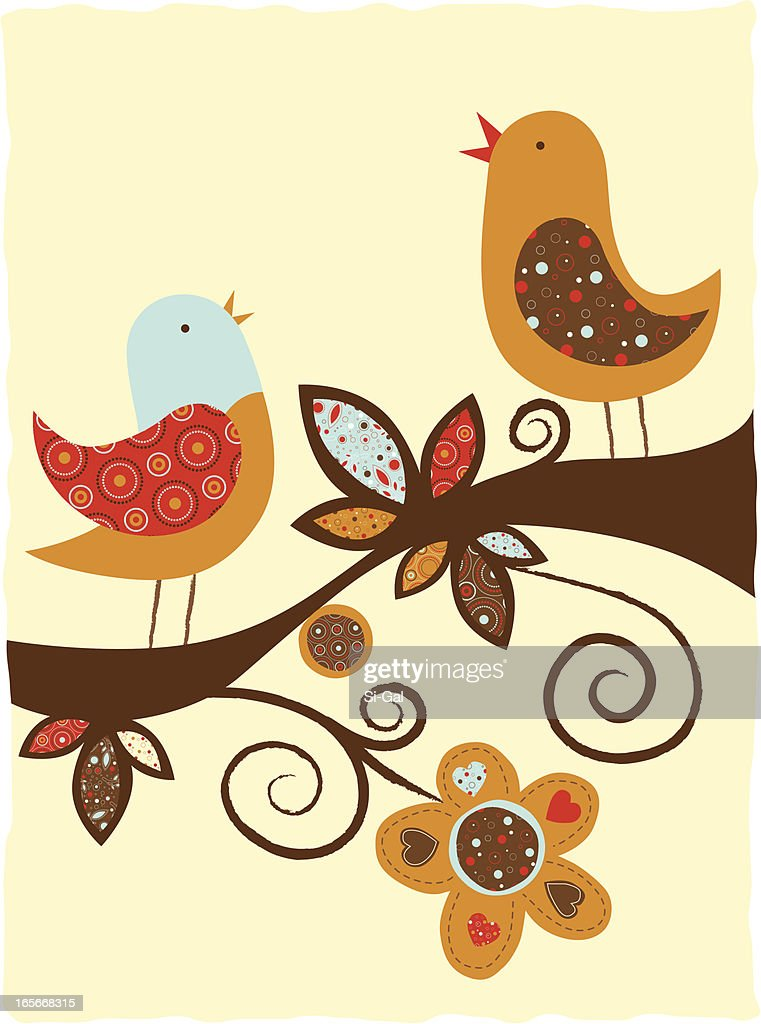 Illustration of birds with different patterns on a branch